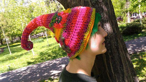 Crochet Freeform Hat, Alien Long Tail Hat, Autumn Winter Fashion, Handmade gift for her, Women Girls hat, Elf Fairy Pixie Hat, OOAK Rainbow