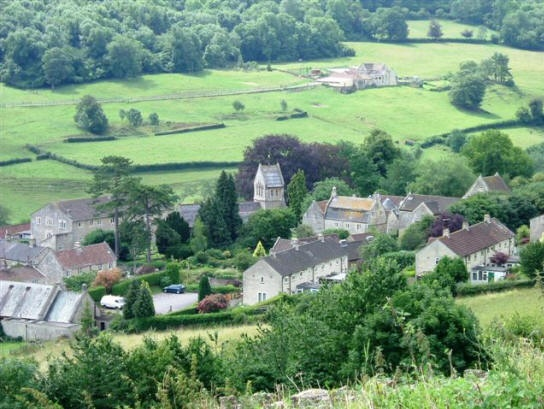 Monkton Combe photos - Looking down on the village from Shaft Road