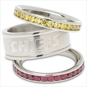 LogoArt Kansas City Chiefs Crystal Stacked Ring Set