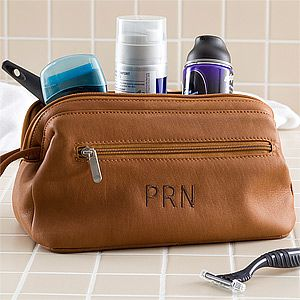 Great Christmas Gift idea for him! It's an Embroidered Brown Leather Toiletry Bag ... great for traveling or even just for his gym bag! ... good idea for the guy who has everything!