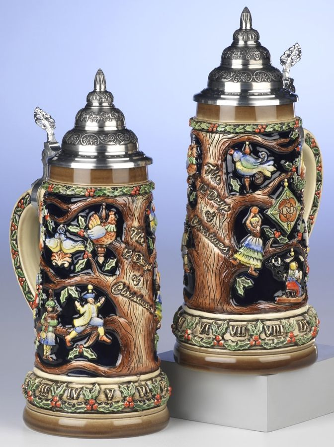 German Twelve Days of Christmas Beer Stein by KING-WORKS Wuerfel & Mueller GmbH and Co. in Hoehr-Grenzhausen. Source: http://www.thechristmashausonline.com/b1044.html