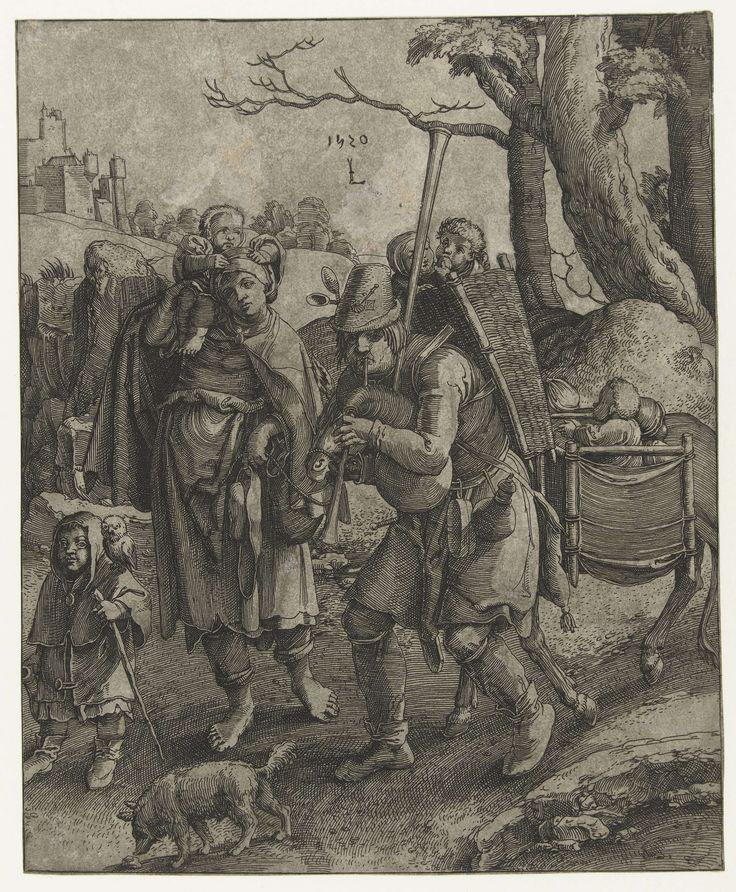 Anonymous   Uilenspiegel: de bedelaarsfamilie, Anonymous, 1520 - 1583   Doedelzakspelende man met twee kinderen in de mand op zijn rug, naast hem een vrouw met een kind op de schouder. Zij voeren een ezel mee, beladen met kinderen. Voorop loopt een jongen met een uil op de schouder, naast hem snuffelt een hondje.