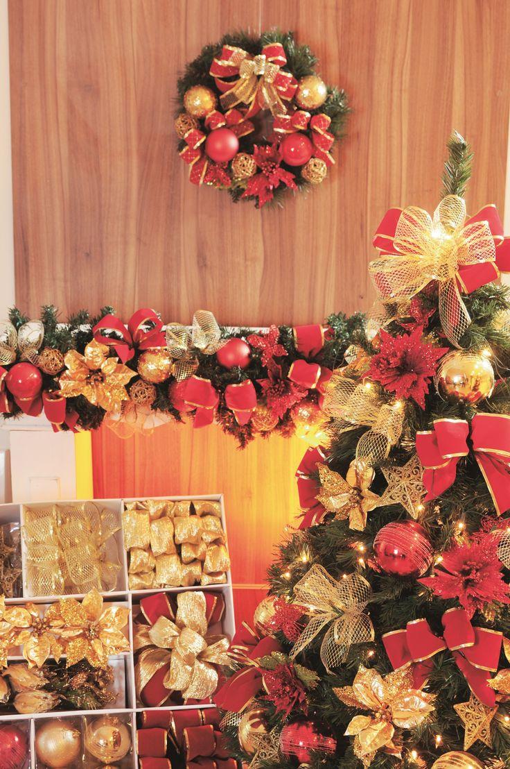 decoracao arvore de natal vermelho e dourado: De Natal Vermelhas no Pinterest