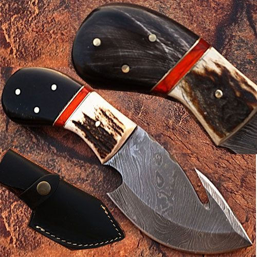 Custom Handmade Damascus Steel Skinner Gut Hook Knife (Buffalo Horn & Stag Bone Handle) (DM-59 DM-2129)