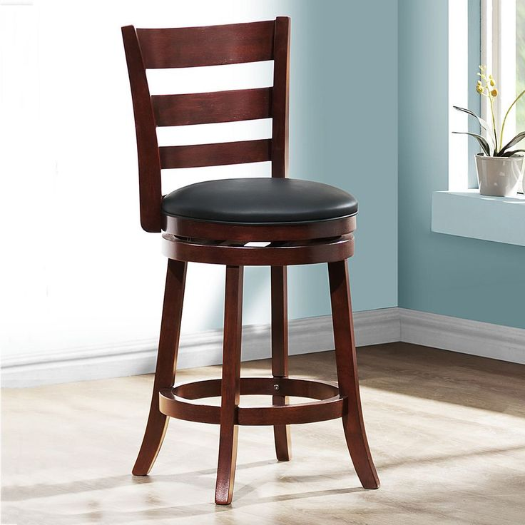 HomeVance Atalya 24-in. Faux Leather Swivel Bar Stool, Brown