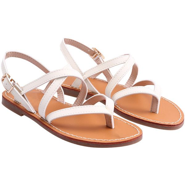 SheIn(sheinside) White Buckle Strap Flat Sandals (€26) ❤ liked on Polyvore featuring shoes, sandals, flats, white, white sandals, peep toe flat sandals, peep toe flats, flat pumps and flat shoes