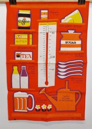 Retro 60s 70s tea towel with cooking measurements, imperial to metric conversion