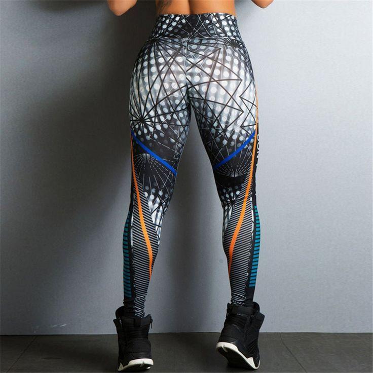 2018 Hayoha Geometriska Linjer Utskrifter Leggings Put Hip Elastic High Midja Legging Diydiy Info Stil In 2020 Hosen Damen Muster Leggings Leggings Mode