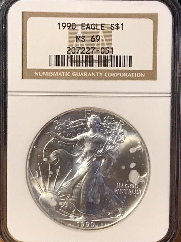 Bullion 1990 Silver Eagle Dollar Ngc Ms69 1 Oz Coin Bullion Coins Silver Eagles