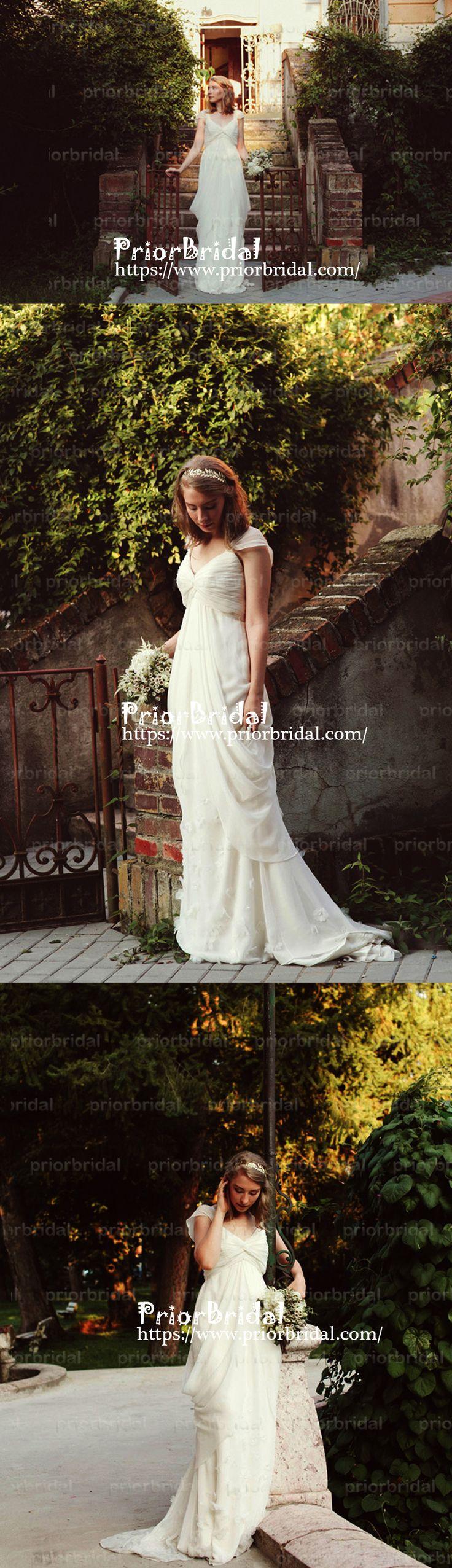 Unique Vintage Ivory Chiffon Cap Sleeve Pleating V-neck Country Wedding Dresses. RG0150