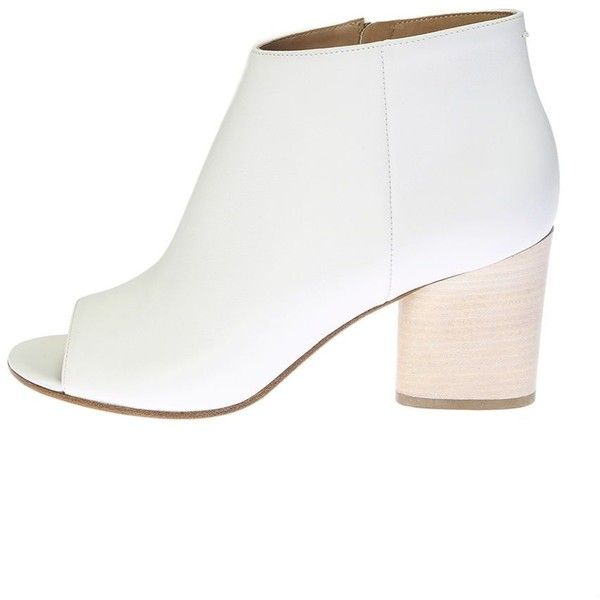 White Leather Ankle Boots ($341) ❤ liked on Polyvore featuring shoes, boots, ankle booties, white, womenshoesboots, leather bootie, white boots, white ankle boots, leather booties and high heel bootie