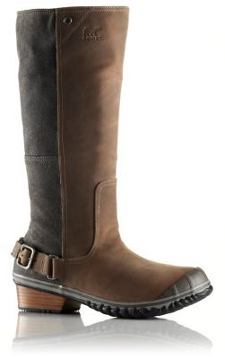 An embarrassment of riches. Rich full-grain leather, oiled suede panels, a semi-square toe, and stacked leather heel with buckle accents give this sleek, knee-high boot its distinctly western flair.