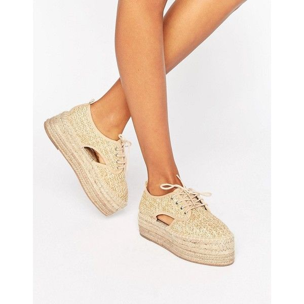ASOS JASPER Chunky Lace Up Espadrilles found on Polyvore featuring polyvore, women's fashion, shoes, sandals, beige, asos, laced sandals, espadrille shoes, woven sandals and beige sandals