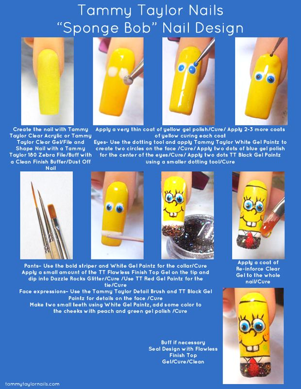 "Tammy Taylor Nails ""Sponge Bob"" Nail Design"