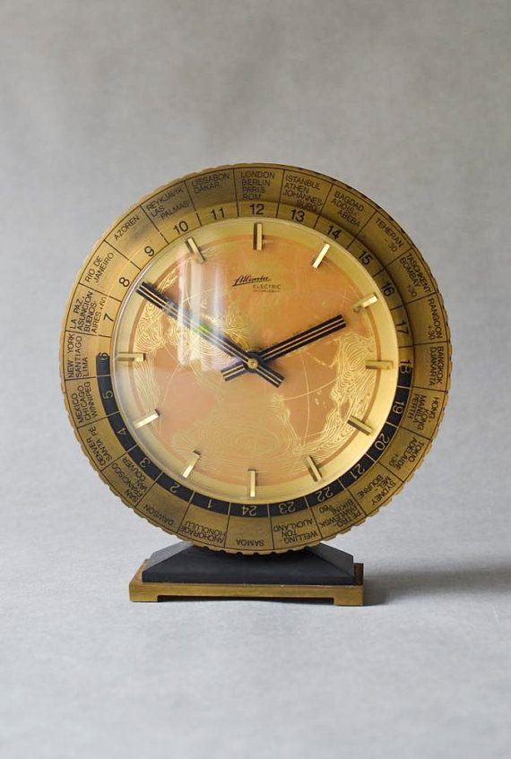 brass desk clock table clock kienzle west german mid century modern