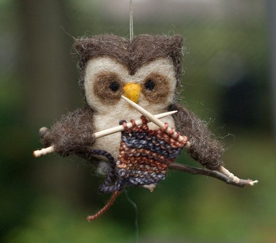 Needle Felted Knitting Owl - don't you love the knitting critters