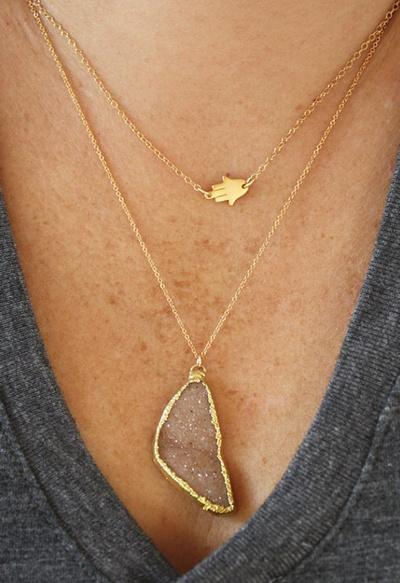 Layered gold jewellery