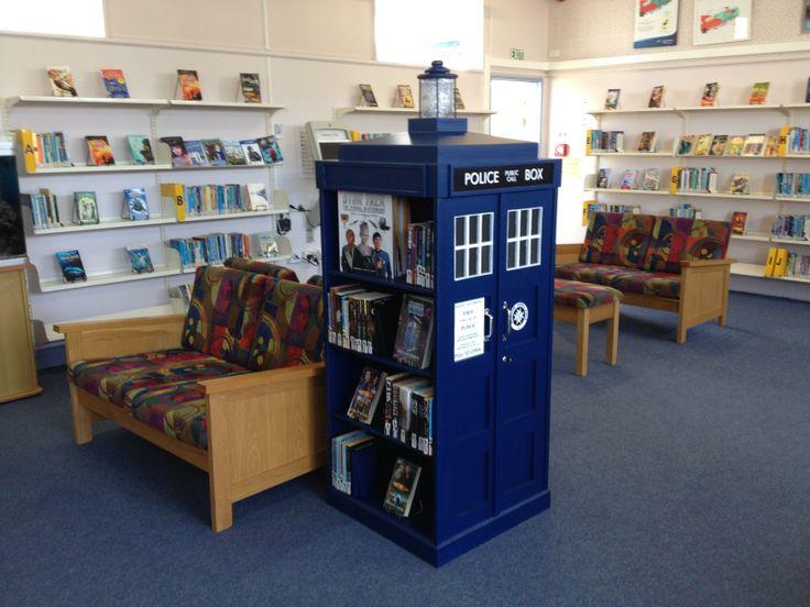 Tardis bookshelf, The Tardis holds our science fiction collection. Birkdale Intermediate School. www.bis.school.nz