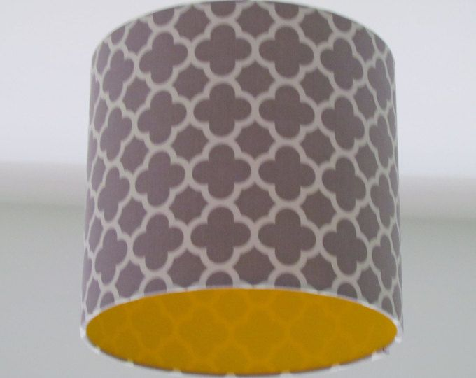 New Handmade Light Grey Mustard Quatrefoil Geometric Lampshade Lightshade With Images Quatrefoil Fabric Quatrefoil Yellow Lamp