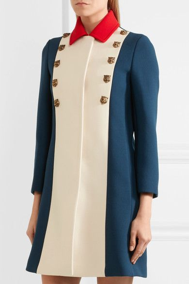 Gucci - Embellished Color-block Wool Coat - Royal blue - IT40