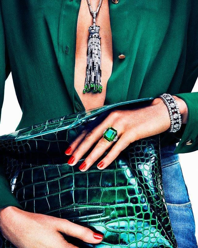Emerald & diamond tassel  necklace, ring, emerald green crock clutch