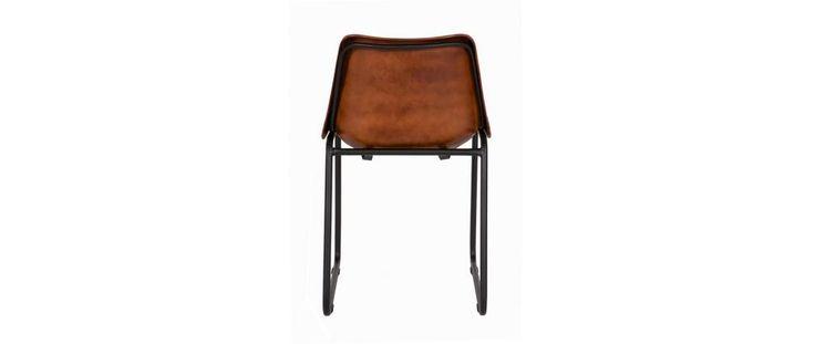Chaise design en cuir et métal marron lot de 2 ROK