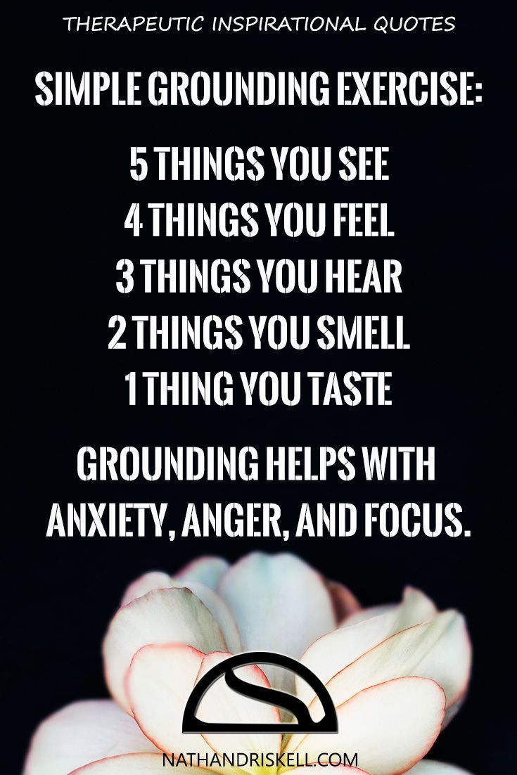 Grounding is one of the best coping skills, as it is easy to do and can be done anywhere. For each sense, describe in detail and work your way down the list. The order and amount matters. Once done, you will be more focused and better in control of your thoughts. #grounding #anxiety #focus http://nathandriskell.com