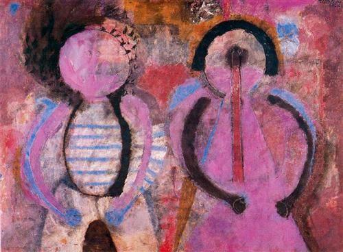 Retrato de niños (Pareja de niños) - Rufino Tamayo - cubism, Expressionism, 1966