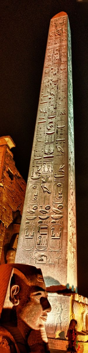 Obelisk Ramses at Night - Temple at Luxor, Egypt.  #ancientegyptians #temple #history