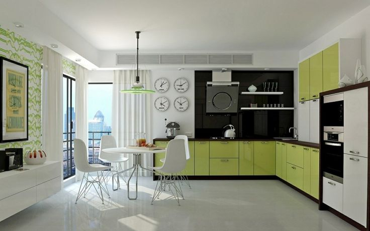 Decorations, White Polished Concrete Floor L Shaped Green Kitchen Cabinet With Wood Countertop White Cabinet With Built In Double Microwave White Wall Shelves Modern Kitchen Hood Round White Dining Table Modern White Dining Chairs: Enchanting and Charming L Shaped Kitchen Design Ideas to Motivate You
