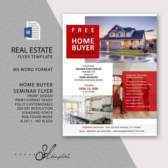 Real Estate Flyer Template New Home Buyer Seminar Template With Seminar Handout Ms Word Real Estate Flyer Template Real Estate Landing Pages Real Estate Flyers