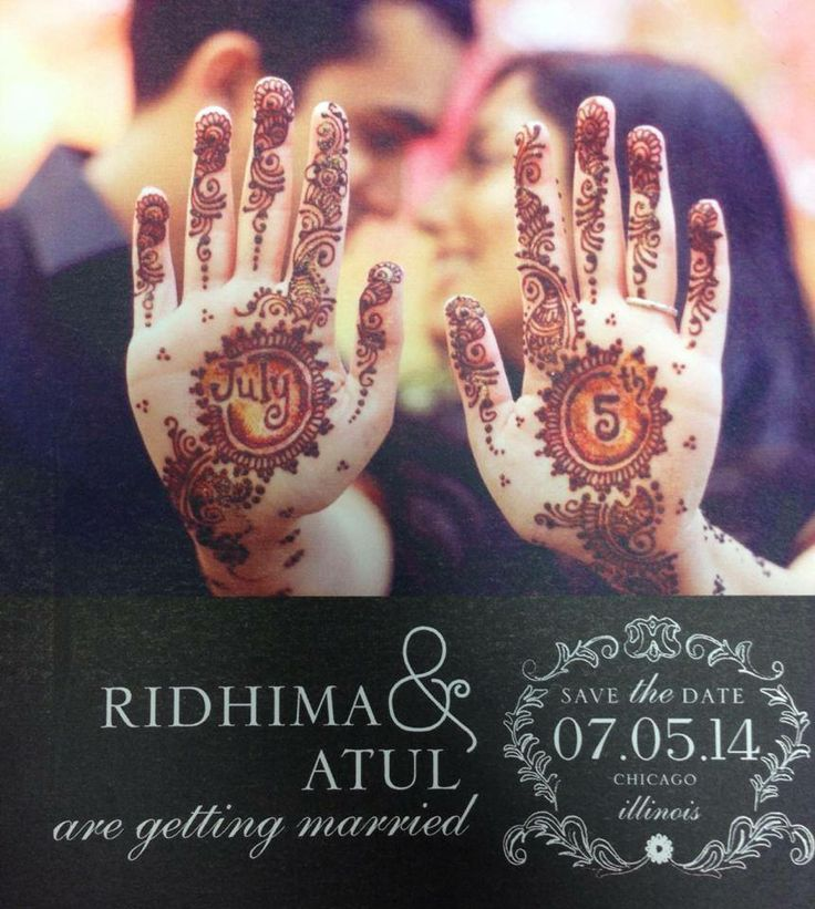 We love Ridhima and Atul! So excited to work with them on their Indian wedding!! How clever~save the date card using mehndi