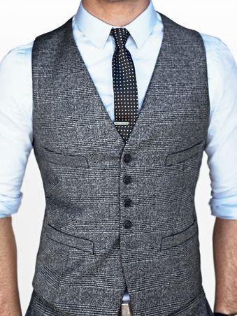Tweed vest, skinny tie