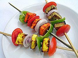 Tri-Colored Paneer Kebabs