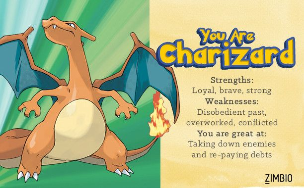 I took Zimbio's Pokémon quiz and I'm Charizard! Who are you?null - Quiz