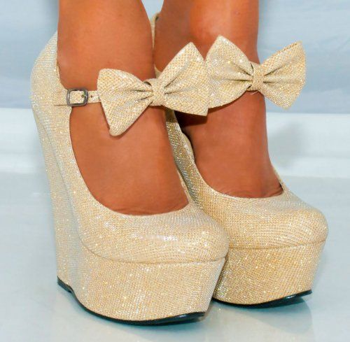 Ladies Gold Sparkly Metallic High Heels Wedges Glitter Wedged Bow Detail Shoes Platforms: Amazon.co.uk: Shoes & Bags