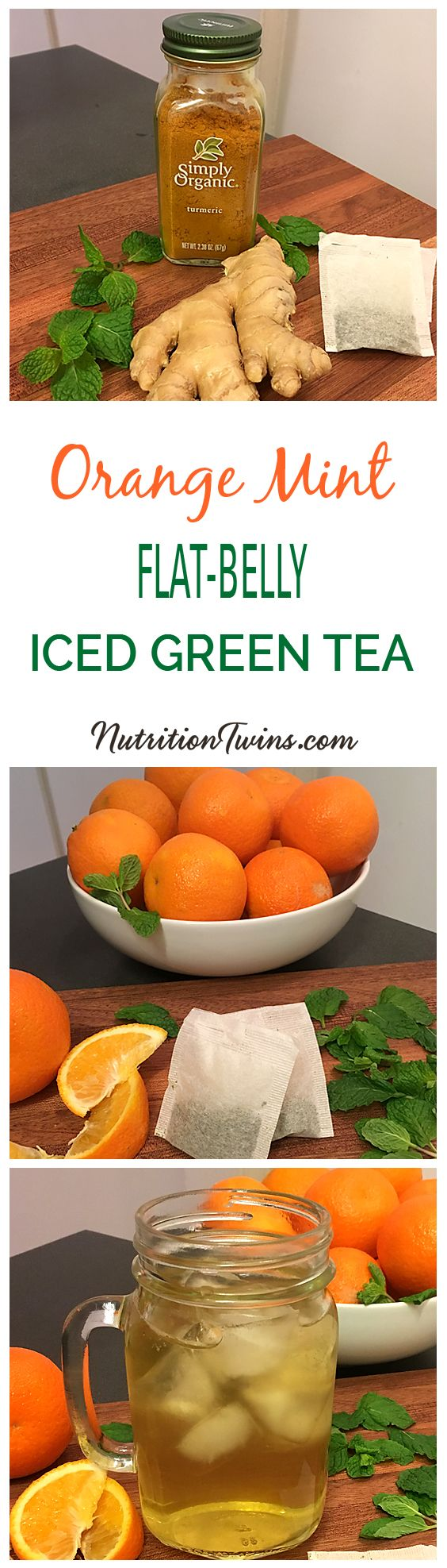 """Orange Mint Iced Green """"Flat- Belly"""" Tea 