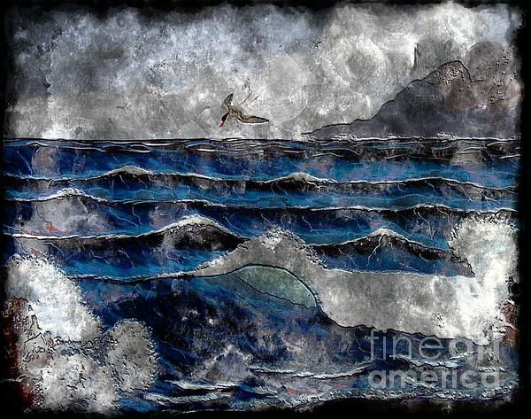 Waves and Ocean on steel engraving type image