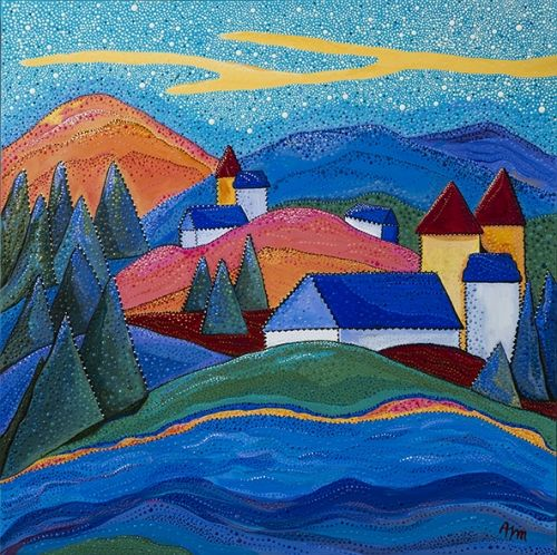 """Le Fleuve by Kawartha Ontario artist Annabelle Jane Murray. Farm houses nestled in the hills above a river, a star-filled sky casts shimmers of colour on the landscape. 24"""" x 24"""" acrylic on canvas"""
