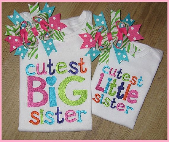 Big Sister Sibling Embroidery Shirt BIG by SouthernBelleBows, $25.00-would be super cute if new baby was girl!!!