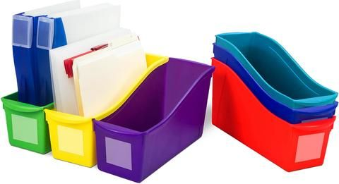 """Keep your books organized.Link our book bins together to make a sturdy book storage or use the easy to grip handles to carry a set of books .The bin will fit taller books and letter sized file folder too.Large book bins hold books, magazines, files, folders, etc.Sides of bins connect together for safe storage.Made of sturdy and drop resistant plastic.Clear pouches included for labeling.Inside measures 11"""" deep for storing letter sized files and papers. Dimensions: 14.3 L x 5.3 W x 7 H 0.51…"""