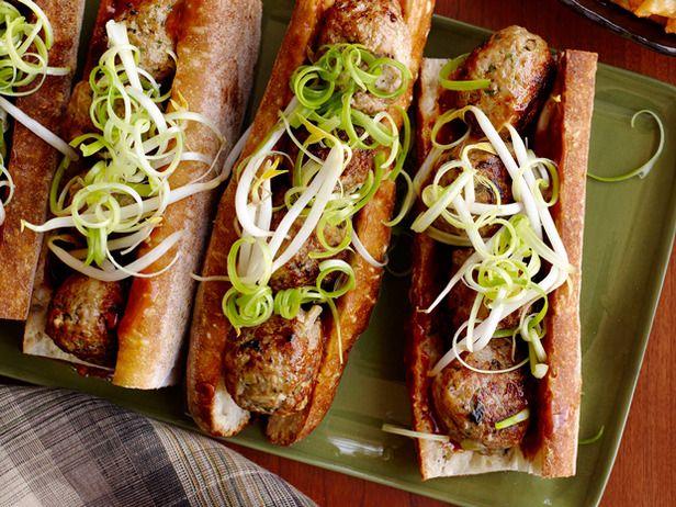Asian Meatball Subs with Hoisin Mayonnaise #BigGame #FNMag: Food Network, Dinner, Recipe, Hoisin Mayonnaise, Meatball Appetizers, Meatball Subs, Meatball Sandwiches