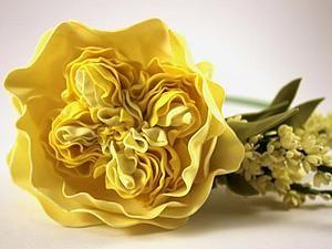 Сегодня я хочу поделиться с вами своим опытом создания пионовидной розы, а вдохновение для работы мне подарило вот это чудесное фото. Хочу попросить прощение за качество фотографий, потому как они были сделаны при ужасном освещении, пока ребенок спал. Если какие-то моменты упущены и не понятны - я с удовольствие отвечу на любые вопросы. Итак, нам понадобится: -фоамиран двух оттенков желтого и…