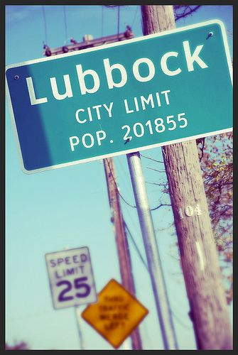Lubbock Texas City Limit Sign