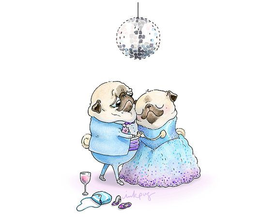 Pug Prom - 5x7, 8x10 Pug Art Print - Pug Love Art, Ballroom Dancing Art, Cute Pug Art, Fashion Pugs in Fancy Dresses by Inkpug