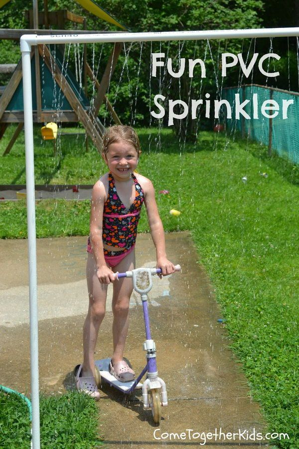 Fun DIY PVC Sprinkler. This will be great for kids playing in summer. It was inexpensive (less than $15) and easy to make.