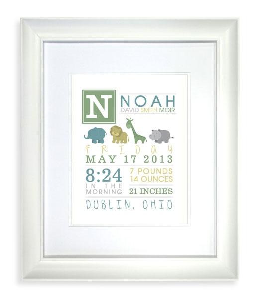 Noah's Ark / Baby Animals Nursery Print - Printable! - Colors customizable!
