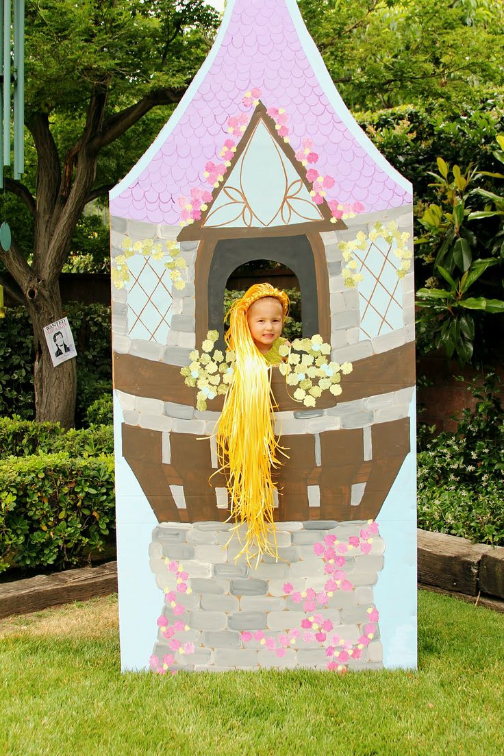 cardboard tangle tower | Here's my little birthday girl in her tower, letting her hair hang ...