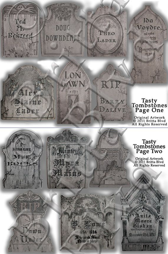 tasty tombstones 13 punny epitaphs set of 2 by brittablvd on etsy 1400 i - Funny Halloween Tombstones