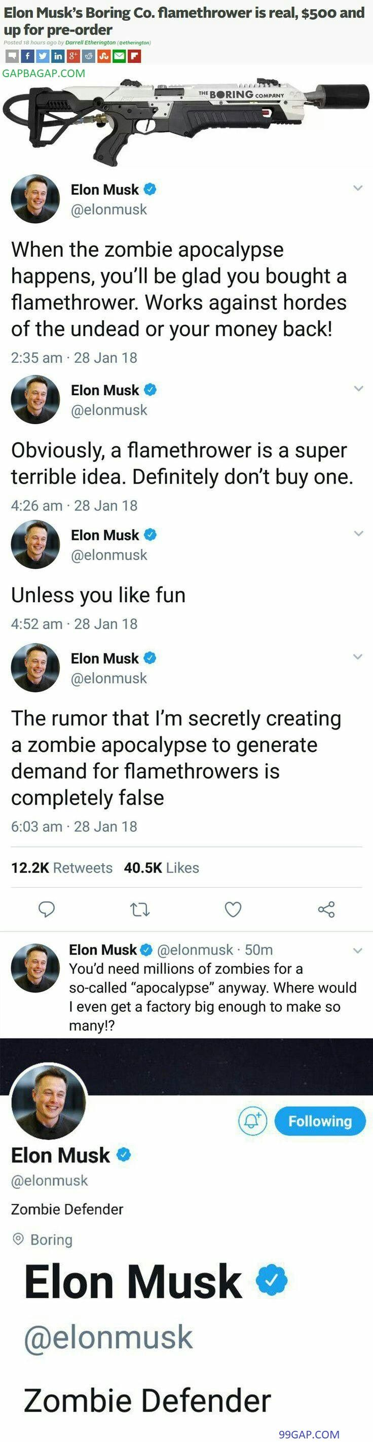 #Funny Tweets About Elon Musk vs. Zombies